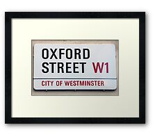 Oxford Street W1 Sign Framed Print