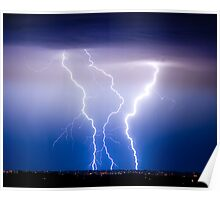 Triple Lightning Bolts Poster