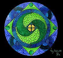 Green & Blue Mandala by Fay Hartwell