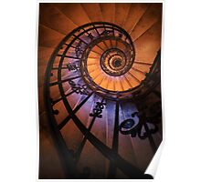 Spiral staircase  in orange and blue Poster