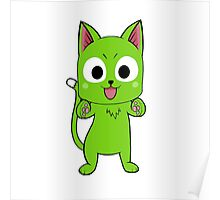 Anime cat hug - green Poster