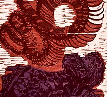 Diptych of Bones - Woodcut by Tyler Wainright