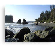Boulders on Beach in Washington Canvas Print