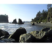 Boulders on Beach in Washington Photographic Print