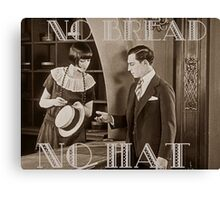 """No Bread No Hat"" Silent Film-era Buster Keaton Canvas Print"