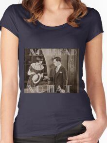 """""""No Bread No Hat"""" Silent Film-era Buster Keaton Women's Fitted Scoop T-Shirt"""