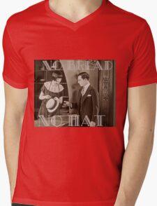 """""""No Bread No Hat"""" Silent Film-era Buster Keaton Mens V-Neck T-Shirt"""