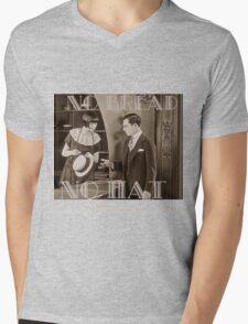 """No Bread No Hat"" Silent Film-era Buster Keaton Mens V-Neck T-Shirt"