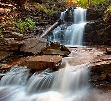First October Morning Light On Shawnee Falls by Gene Walls