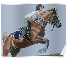 Life's Hurdles with Grace - Horse & Rider Jumping Poster