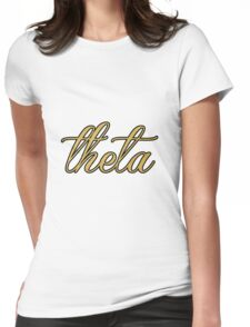 Kappa Alpha Theta Gold and Black Womens Fitted T-Shirt