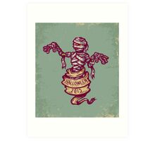 Mummy and old ribbon for Halloween Art Print