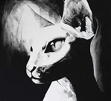Sphynx Cat Feline Black & White Painting Art by lushspiderarts
