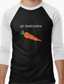 go masticate. (carrot) <white text> Men's Baseball ¾ T-Shirt