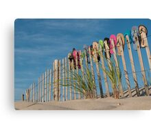 Sandals on a Fence Canvas Print