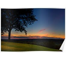 Sunset on Mount Assisi Hill Poster