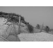 Assateague Island, MD, beach dune & fence Photographic Print