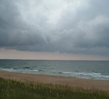 OBX beach & clouds by Lucy Albert