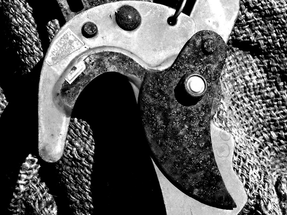Loppers Blade on Hessian Bag by Mark Batten-O'Donohoe