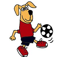 Funky Brown Dog Playing Soccer by naturesfancy