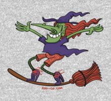 Crazy Witch Surfing on her Broom Kids Tee