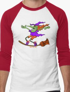 Crazy Witch Surfing on her Broom Men's Baseball ¾ T-Shirt