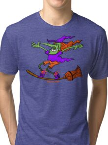 Crazy Witch Surfing on her Broom Tri-blend T-Shirt