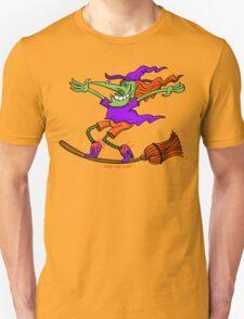 Crazy Witch Surfing on her Broom Unisex T-Shirt