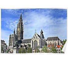 View from Groenplaats market square, Antwerpen. Poster
