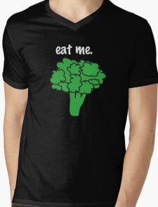 eat me. (broccoli) <white text> Mens V-Neck T-Shirt