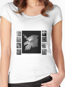 Pretty Petals II Black and White Women's Fitted Scoop T-Shirt