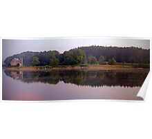 The Old Stone Church Wachusetts Resevoir Pano Poster