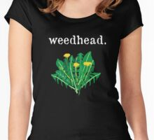 weedhead. (dandelion) <white text> Women's Fitted Scoop T-Shirt