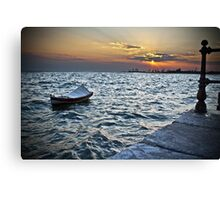 BOAT SUNSET SEA Canvas Print