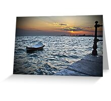 BOAT SUNSET SEA Greeting Card