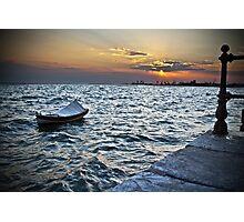 BOAT SUNSET SEASIDE Photographic Print