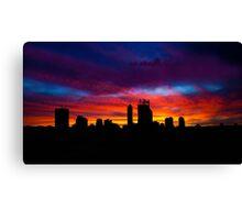 Perth city sunrise silhouette, Western Australia Canvas Print
