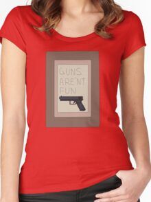 Rick and Morty: Guns Are'nt Fun Women's Fitted Scoop T-Shirt