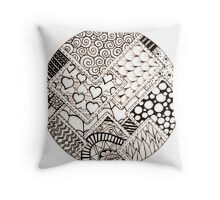 Doodles- stitched squares Throw Pillow