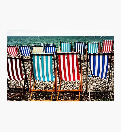 Seafront Deckchairs - Beer, Devon Photographic Print
