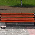 new wooden bench in a city park by Valerii Kotulskyi