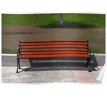 new wooden bench in a city park Poster