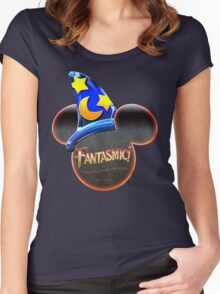 Fantasmic! - Metallic Mouse Ears, Hat, and Logo Design Women's Fitted Scoop T-Shirt