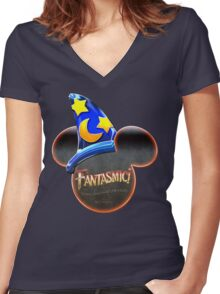 Fantasmic! - Metallic Mouse Ears, Hat, and Logo Design Women's Fitted V-Neck T-Shirt
