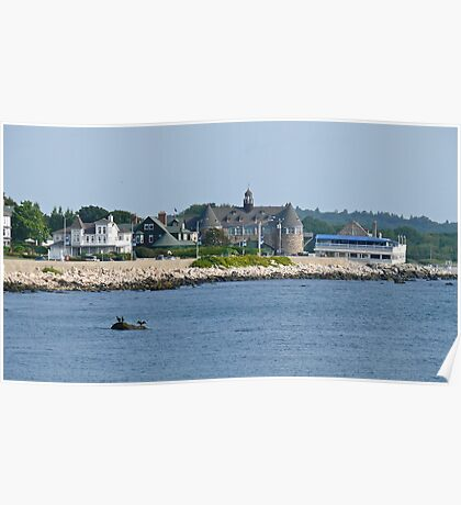 Ocean Road - Narragansett Towers - Coast Guard House Poster