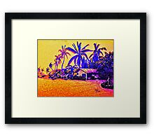 Big Island Silhouette in yellow and purple Framed Print
