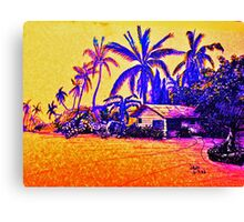 Big Island Silhouette in yellow and purple Canvas Print