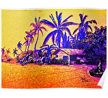 Big Island Silhouette in yellow and purple Poster