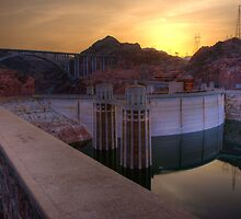 Hoover dam at sunset by raceman