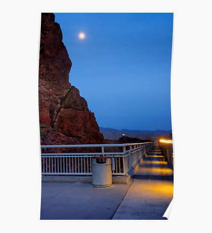 Moon rise over the Hoover Dam Poster